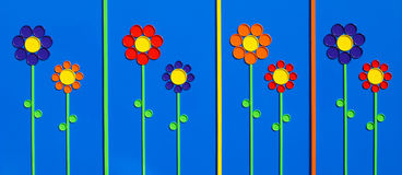 Flower Lids. These flowers art made out of color lids royalty free illustration