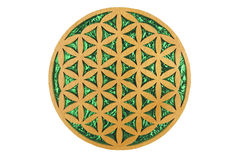 Flower of Life. Wood and green foil flower of life sacred geometry symbol Royalty Free Stock Image