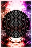 Flower of life on abstract color background. Flower of life on abstract color background stock image