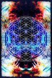 Flower of life on abstract color background. Sacred geometry. vector illustration