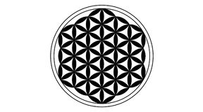 Flower of life Black. Isolated on white background. A decorative motif since ancient times, forming a flower-like pattern with the symmetrical structure of a vector illustration