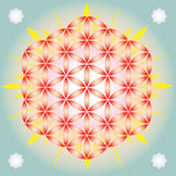 Flower of life in blue space vector illustration