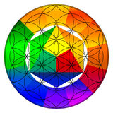 Flower of life, buddhism chakra illustration. Gradient color wheel overlay stock photo