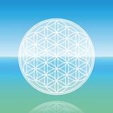 Flower Of Life Calm Ocean. Flower of Life - levitating over calm peaceful ocean Royalty Free Stock Images