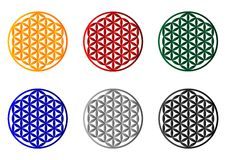 Flower of life - cdr format. Set of coloured flower of life symbol, sacred geometry stock illustration
