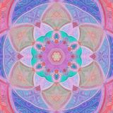 Baby Flower of Life, a geometrical figure, composed of multiple evenly-spaced, overlapping circles, triangles tile in pastel pink,. Flower of Life, a geometrical Royalty Free Stock Images