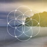 Flower of life - the interlocking circles ancient symbol. Sacred geometry. Mathematics, nature, and spirituality in nature. Fibona. Cci row. The formula of Royalty Free Stock Photo