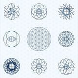 Flower of life. Sacred geometry linear contour icons. Set of icons can be quickly repainted in any color. Vector. Background - seamless pattern Flower of Life stock illustration