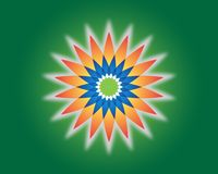 Flower of life. Sacred geometry. Vector spiritual symbol. Blue and red neon vector illustration on green background stock illustration