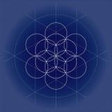 Flower of Life. White Vector Sacred Geometry illustration on technical paper royalty free illustration