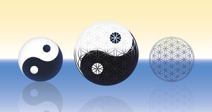Flower of Life Yin Yang Spheres. Yin Yang symbol (left) and Flower of life symbol (right) combined in one emblem in the center. They are floating over the water royalty free stock photography