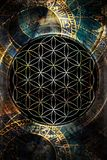 Flower of life and zodiac in cosmic space. Sacred geometry. Stock Photography