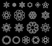 19 Flower-like knots collection. Vector illustration Stock Images
