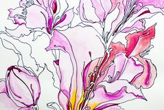 Flower lilly Watercolor deep color texture blue white gray background acrylics paint draw paint draw isolate. Watercolor flowers lilly color texture blue pink stock illustration