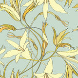 Flower lily tileable wallpaper Royalty Free Stock Photo