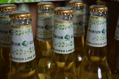 Flower Lime Beer Bottle Royalty Free Stock Images