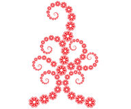 Flower line art. Red colour flower ornamental designs for festival - VECTOR stock illustration