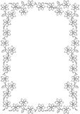 Flower line border BW. Flower line border on white blackground Royalty Free Stock Photography