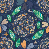 Flower line drawing pastel blue brown seamless pattern Royalty Free Stock Image