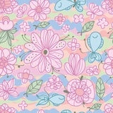 Flower line fish leaf style seamless pattern. This illustration is design and drawing pastel color flowers with fishes in seamless pattern Royalty Free Stock Photography