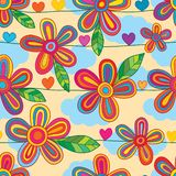 Flower line horizontal style love seamless pattern stock illustration