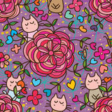 Flower line love cat seamless pattern. This illustration is drawing and design flower with cat in purple color background and love decoration with seamless Royalty Free Stock Image