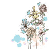 Flower line page draw royalty free illustration