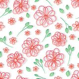 Flower line pastel gradient stroke white seamless pattern royalty free illustration