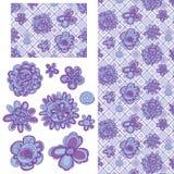 Flower line purple diamond stick set seamless pattern Stock Photography