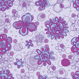 Flower line purple dot drawing seamless pattern Stock Photos
