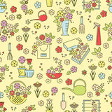 Flower line seamless pattern Royalty Free Stock Images