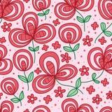 Flower line style mushroom seamless pattern Royalty Free Stock Image
