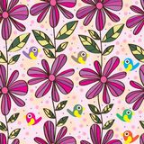 Flower line vertical seamless pattern Royalty Free Stock Images