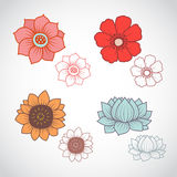 Flower Lineart Set 1 Royalty Free Stock Image