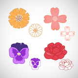 Flower Lineart Set 3 Stock Photos