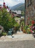 Flower lined alpine garden entrance Royalty Free Stock Photos