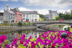Free Flower Lined Riverside View Of Kilkenny Stock Photography - 70877732