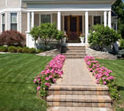 Flower-lined Sidewalk. Sidewalk of old Victorian house lined with pink geraniums Royalty Free Stock Images