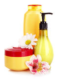 Flower and liquid soap isolated Stock Images