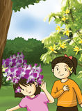 Flower and little girls illustration. Wild orchids and yellow flower Royalty Free Stock Photo