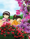 Flower and little girls illustration Stock Photos
