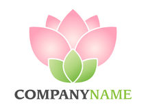 Flower logo. Isolated vector company logo with pink green blossom floral lotus (or rose) icon on white background Stock Photos