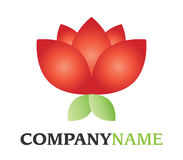 Flower logo. Isolated vector company logo with red blossom floral rose icon with green leaves on white background Royalty Free Stock Images