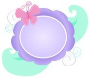 Flower Logo. Illustration of a purple and green pastel floral logo royalty free illustration