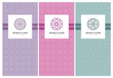Flower logo and seamless pattern design template Royalty Free Stock Photos