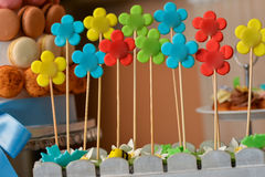 Flower lollipops with different colors Royalty Free Stock Photos