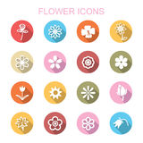 Flower long shadow icons Stock Photos