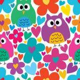 Flower love big small owl cute seamless pattern royalty free illustration