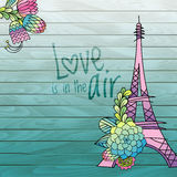 Flower love card design with eiffel tower vector Royalty Free Stock Photos