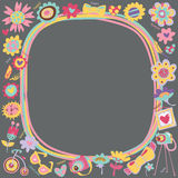 Flower Love cute frame with fashionable things. Royalty Free Stock Images
